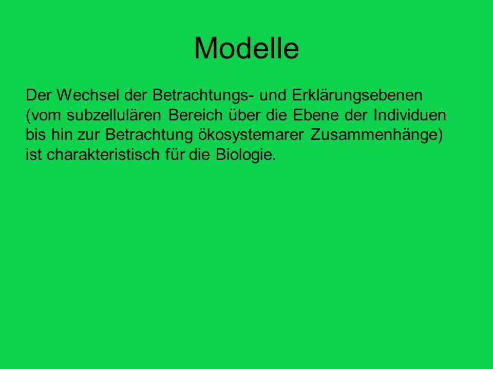 Modelle Der Wechsel der Betrachtungs- und Erklärungsebenen (vom subzellulären Bereich über die Ebene der Individuen bis hin zur Betrachtung ökosystema