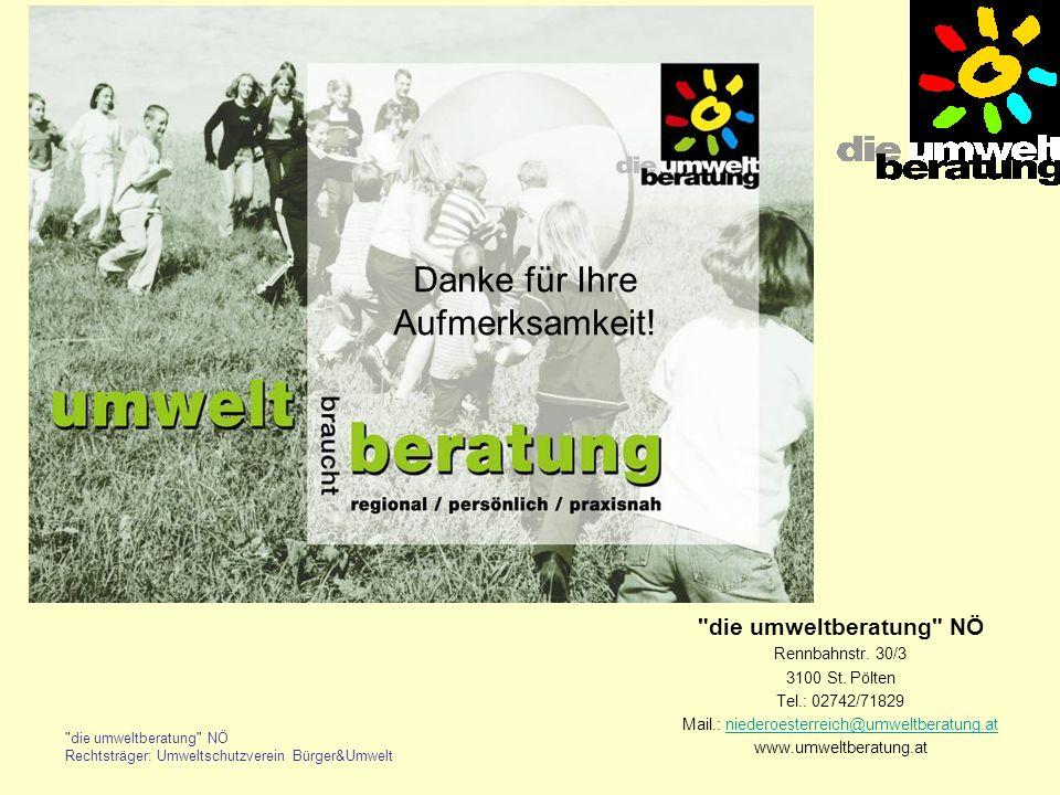 die umweltberatung NÖ Rechtsträger: Umweltschutzverein Bürger&Umwelt die umweltberatung NÖ Rennbahnstr.