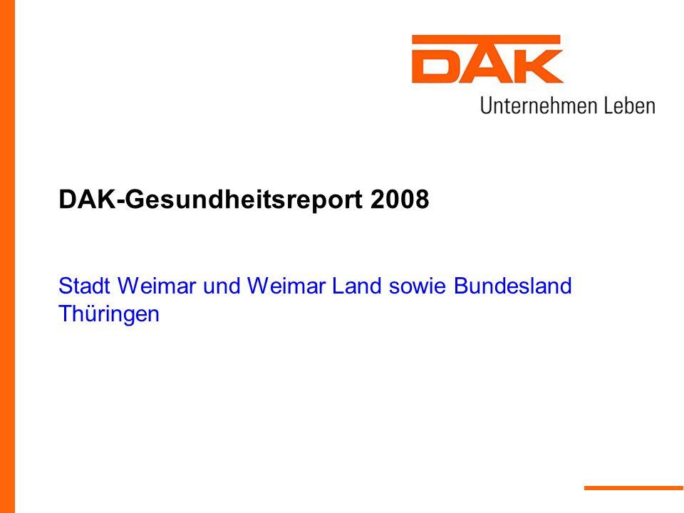 DAK-Gesundheitsreport 2008 IGES Institut GmbH Folie 2 DAK-Gesundheitsreport 2008 Der Krankenstand im Jahr 2007 in der Stadt Weimar und Weimar Land sowie im Bundesland Thüringen Schwerpunktthema: Mann und Gesundheit DAK - Gesundheitsmanagement