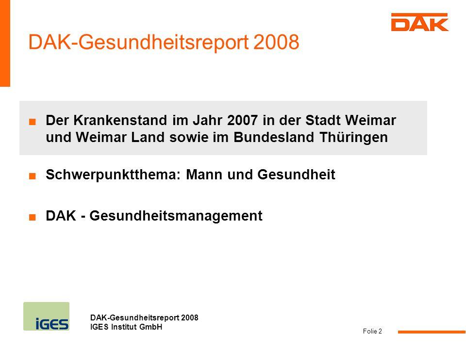 DAK-Gesundheitsreport 2008 IGES Institut GmbH Folie 3 Krankenstand der erwerbstätigen DAK-Mitglieder in Thüringen 2007 gestiegen Quelle: DAK-Gesundheitsreport 2008 für Thüringen