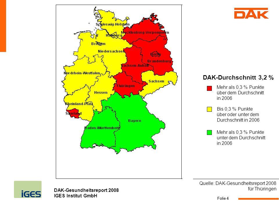 DAK-Gesundheitsreport 2008 IGES Institut GmbH Folie 15 Krankenhaus: Alkoholsucht und -missbrauch begründen die meisten Tage bei Männern KH-Tage pro 1.000 Versicherte Quelle: DAK-Gesundheitsreport 2008 für Thüringen