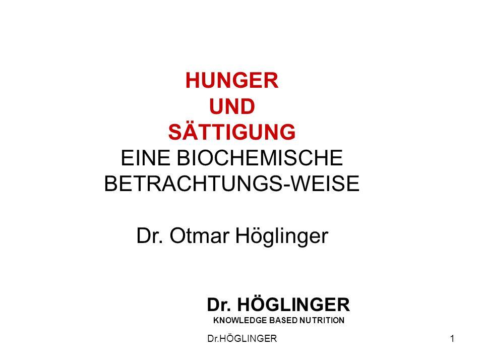 1 HUNGER UND SÄTTIGUNG EINE BIOCHEMISCHE BETRACHTUNGS-WEISE Dr.