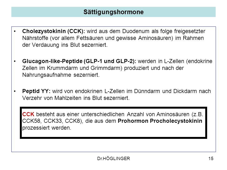 15 Sättigungshormone Cholezystokinin (CCK): wird aus dem Duodenum als folge freigesetzter Nährstoffe (vor allem Fettsäuren und gewisse Aminosäuren) im Rahmen der Verdauung ins Blut sezerniert.