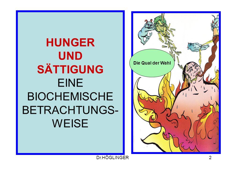 2 HUNGER UND SÄTTIGUNG EINE BIOCHEMISCHE BETRACHTUNGS- WEISE Die Qual der Wahl Dr.HÖGLINGER
