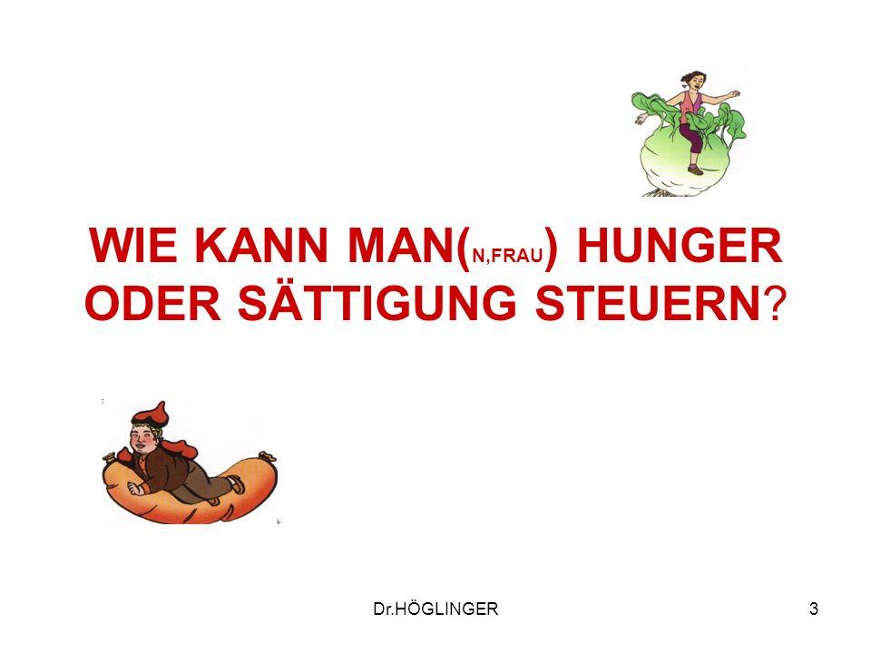 3 WIE KANN MAN( N,FRAU ) HUNGER ODER SÄTTIGUNG STEUERN? Dr.HÖGLINGER