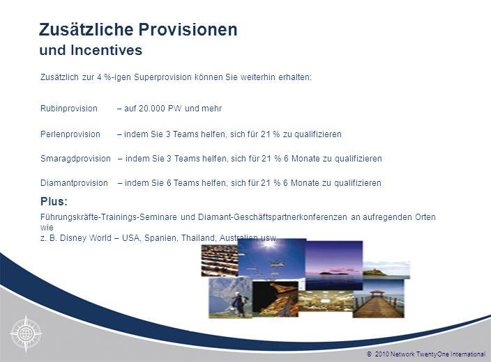© 2010 Network TwentyOne International Zusätzlich zur 4 %-igen Superprovision können Sie weiterhin erhalten: Rubinprovision – auf 20.000 PW und mehr P