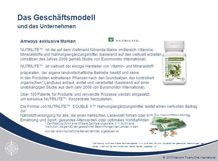 © 2010 Network TwentyOne International NUTRILITE ist die auf dem Weltmarkt führende Marke im Bereich Vitamine, Mineralstoffe und Nahrungsergänzungsmit