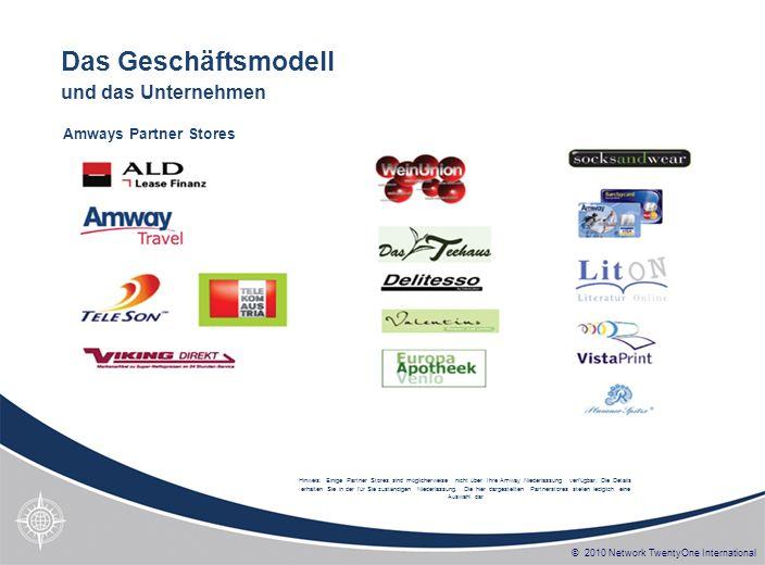 © 2010 Network TwentyOne International Hinweis: Einige Partner Stores sind möglicherweise nicht über Ihre Amway Niederlassung verfügbar. Die Details e