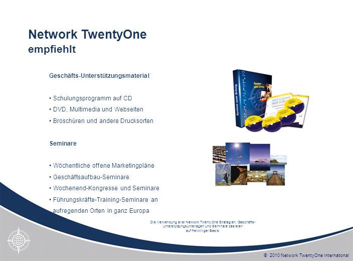 © 2010 Network TwentyOne International Geschäfts-Unterstützungsmaterial Schulungsprogramm auf CD DVD, Multimedia und Webseiten Broschüren und andere D
