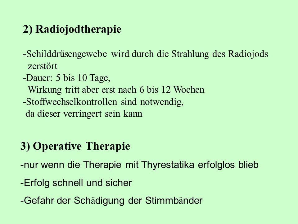 2) Radiojodtherapie -Schilddrüsengewebe wird durch die Strahlung des Radiojods zerstört -Dauer: 5 bis 10 Tage, Wirkung tritt aber erst nach 6 bis 12 W