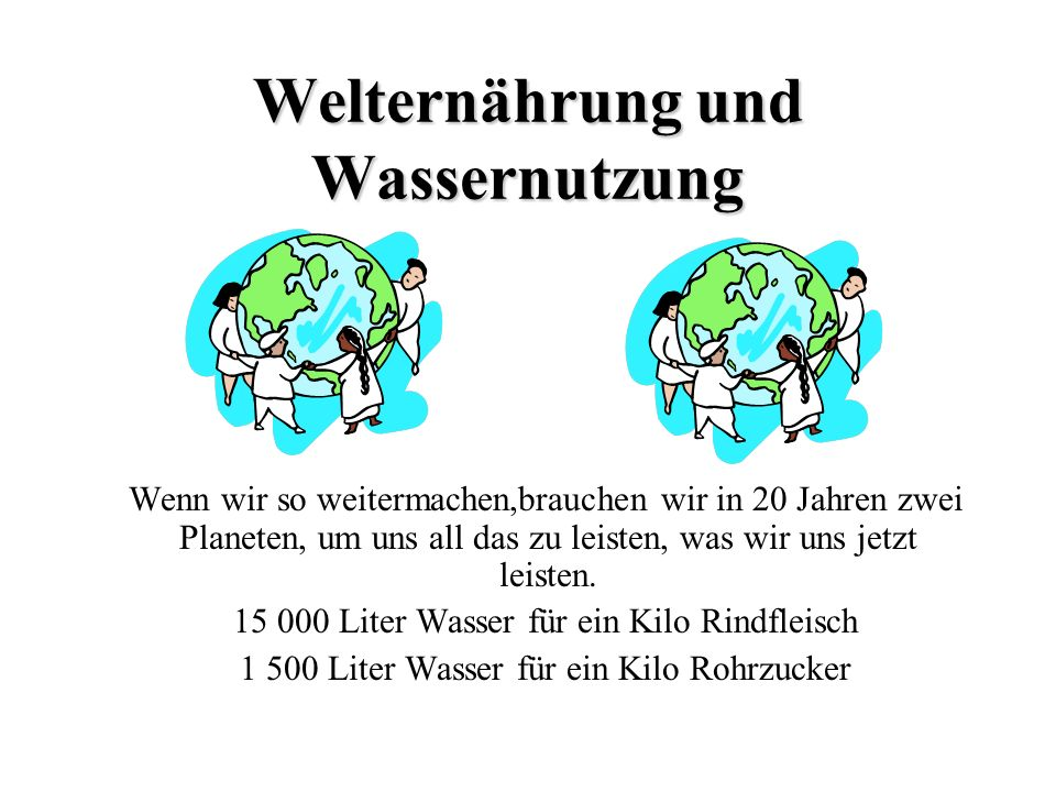 Wir haben nur diese eine Welt Quellen: Europäische Umweltagentur, Brot für die Welt, Umweltbundesamt, WWF, nahost-politik.de, DW-world.de, politikunterricht.de