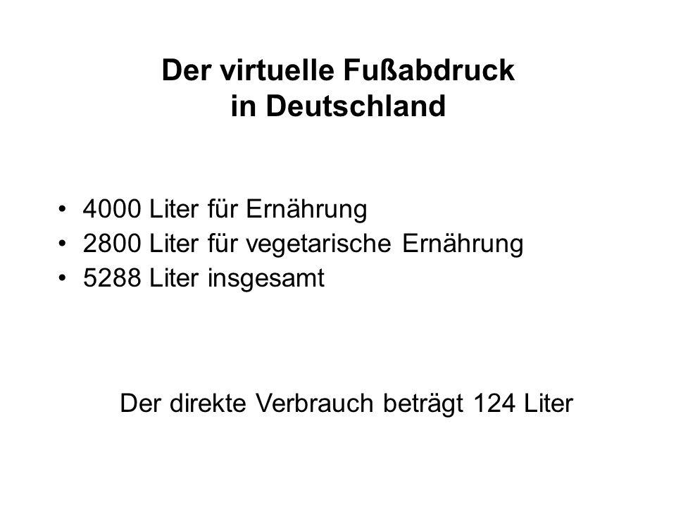 Der virtuelle Fußabdruck in Deutschland 4000 Liter für Ernährung 2800 Liter für vegetarische Ernährung 5288 Liter insgesamt Der direkte Verbrauch betr