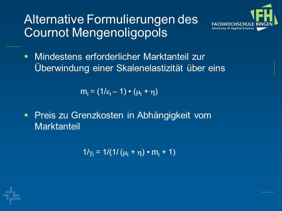 Alternative Formulierungen des Cournot Mengenoligopols Mindestens erforderlicher Marktanteil zur Überwindung einer Skalenelastizität über eins m i = (