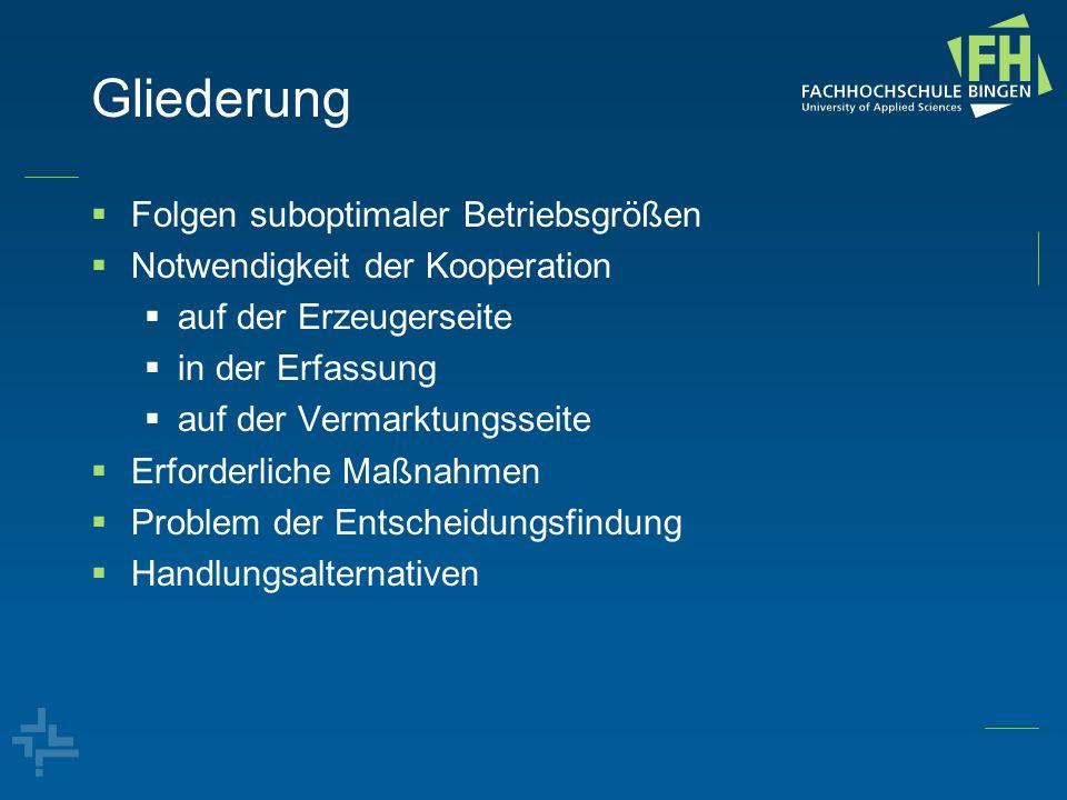 Preiselastizitäten der Nachfrage (Hoff, 2010) für ausländisches Gemüse -0,3 für deutsches Gemüse im Ausland -1,4 für deutsches Gemüse im Inland -0,5 für inländische Nachfrage nach Gemüse -0,3