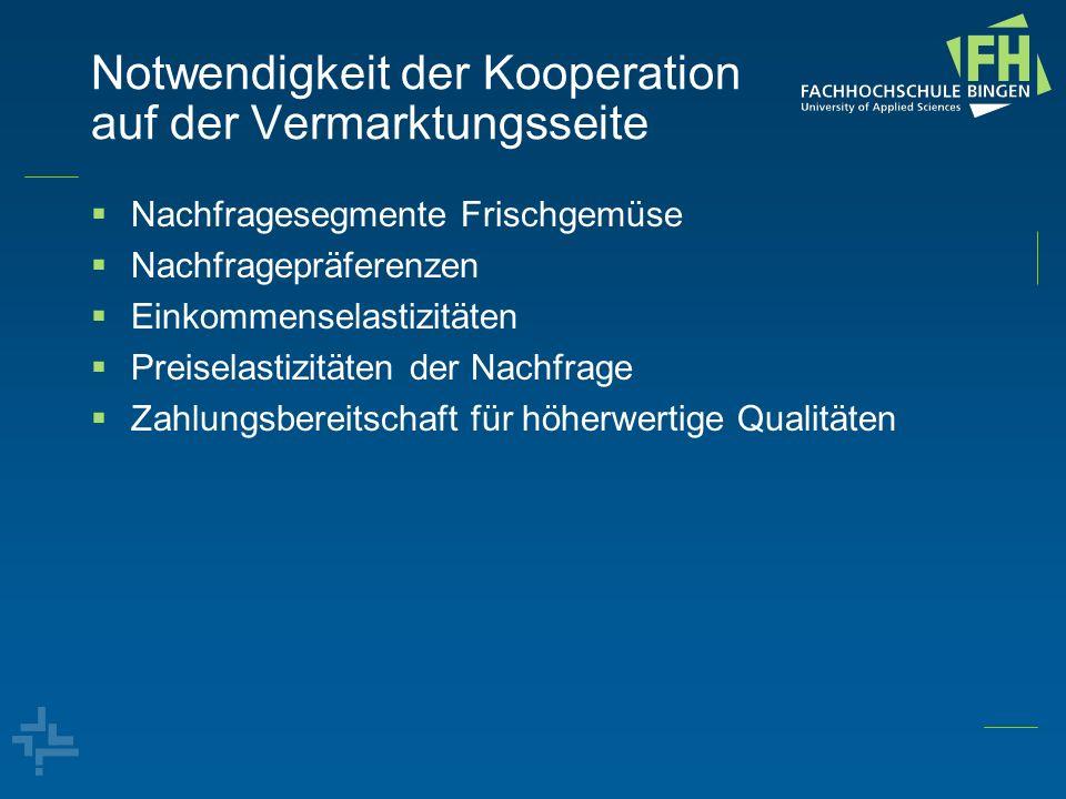 Notwendigkeit der Kooperation auf der Vermarktungsseite Nachfragesegmente Frischgemüse Nachfragepräferenzen Einkommenselastizitäten Preiselastizitäten