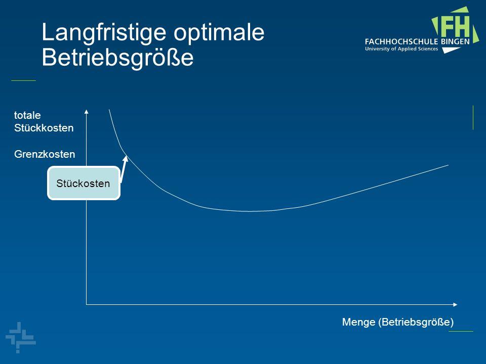 Langfristige optimale Betriebsgröße totale Stückkosten Grenzkosten Menge (Betriebsgröße) Stückosten