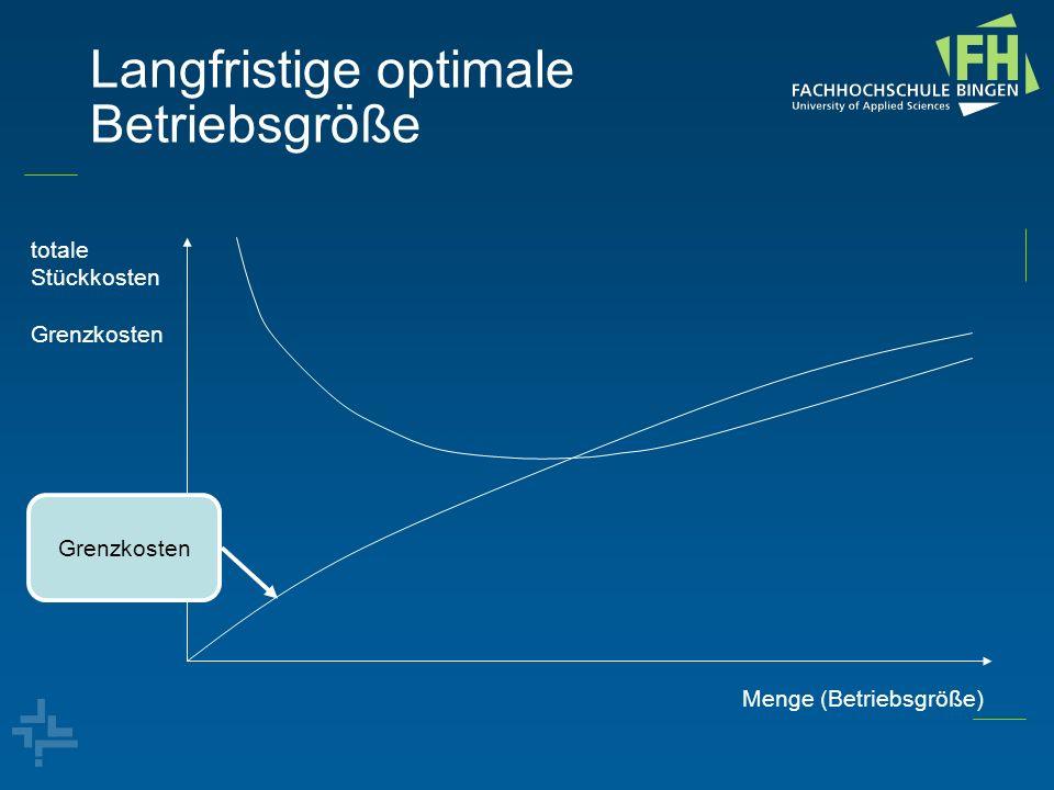 Langfristige optimale Betriebsgröße totale Stückkosten Grenzkosten Menge (Betriebsgröße) kostenminimale Betriebsgröße Grenzkosten