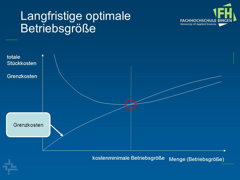 Langfristige optimale Betriebsgröße totale Stückkosten Grenzkosten Menge (Betriebsgröße) kostenminimale Betriebsgröße Stückosten Grenzkosten