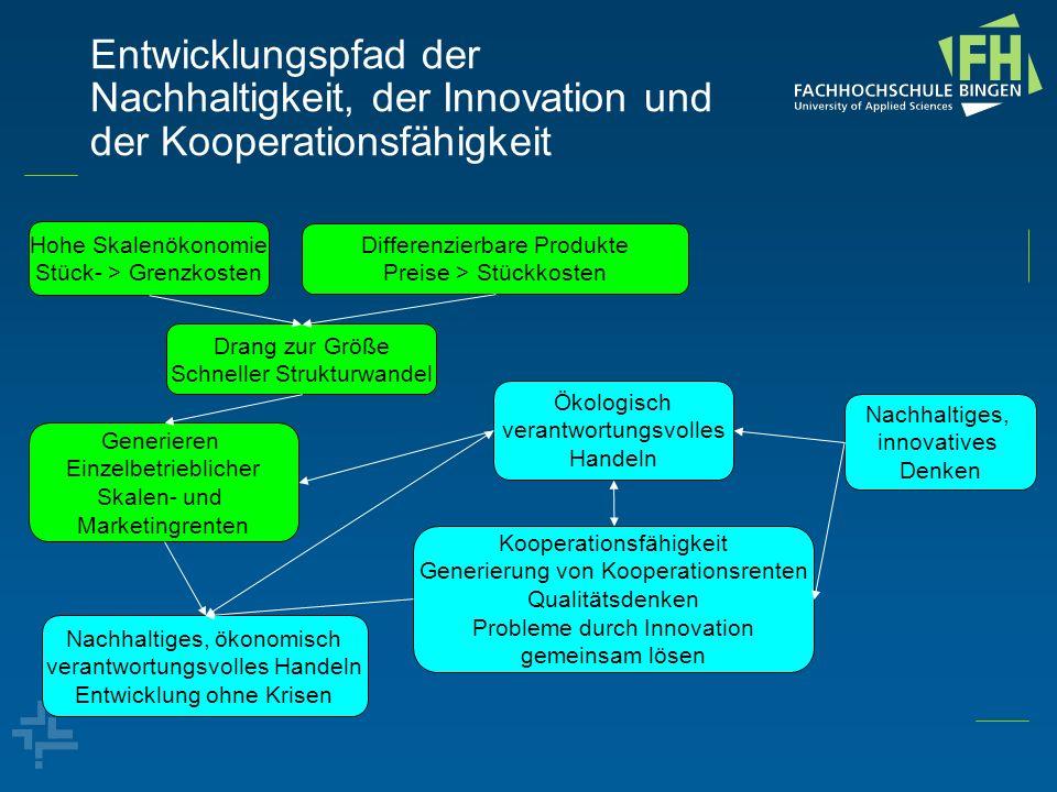 Entwicklungspfad der Nachhaltigkeit, der Innovation und der Kooperationsfähigkeit Hohe Skalenökonomie Stück- > Grenzkosten Differenzierbare Produkte P