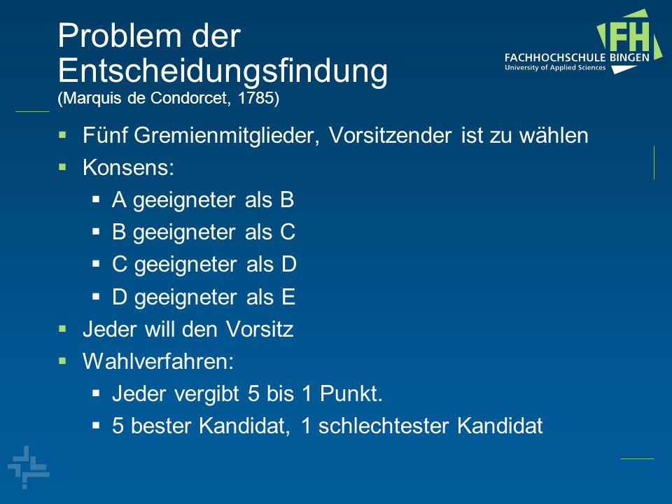 Problem der Entscheidungsfindung (Marquis de Condorcet, 1785) Fünf Gremienmitglieder, Vorsitzender ist zu wählen Konsens: A geeigneter als B B geeigne