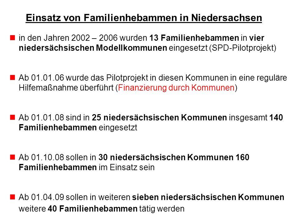 Einsatz von Familienhebammen in Niedersachsen in den Jahren 2002 – 2006 wurden 13 Familienhebammen in vier niedersächsischen Modellkommunen eingesetzt