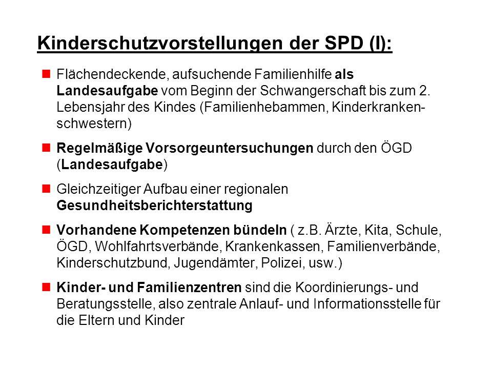 Kinderschutzvorstellungen der SPD (I): Flächendeckende, aufsuchende Familienhilfe als Landesaufgabe vom Beginn der Schwangerschaft bis zum 2. Lebensja