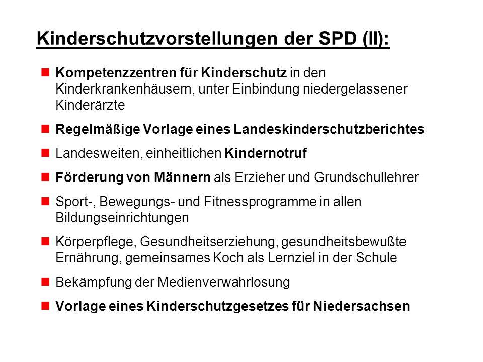 Kinderschutzvorstellungen der SPD (II): Kompetenzzentren für Kinderschutz in den Kinderkrankenhäusern, unter Einbindung niedergelassener Kinderärzte R