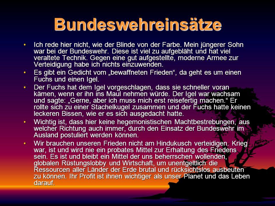 Bundeswehreinsätze Ich rede hier nicht, wie der Blinde von der Farbe. Mein jüngerer Sohn war bei der Bundeswehr. Diese ist viel zu aufgebläht und hat