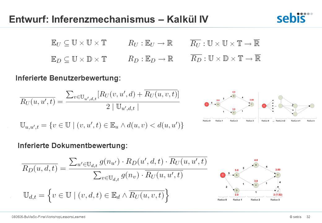 Entwurf: Inferenzmechanismus – Kalkül IV © sebis080505-BuMaSc-FinalWorkshopLessonsLearned32 Inferierte Benutzerbewertung: Inferierte Dokumentbewertung: