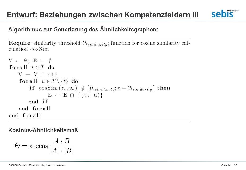 Entwurf: Beziehungen zwischen Kompetenzfeldern III © sebis080505-BuMaSc-FinalWorkshopLessonsLearned33 Algorithmus zur Generierung des Ähnlichkeitsgraphen: Kosinus-Ähnlichkeitsmaß: