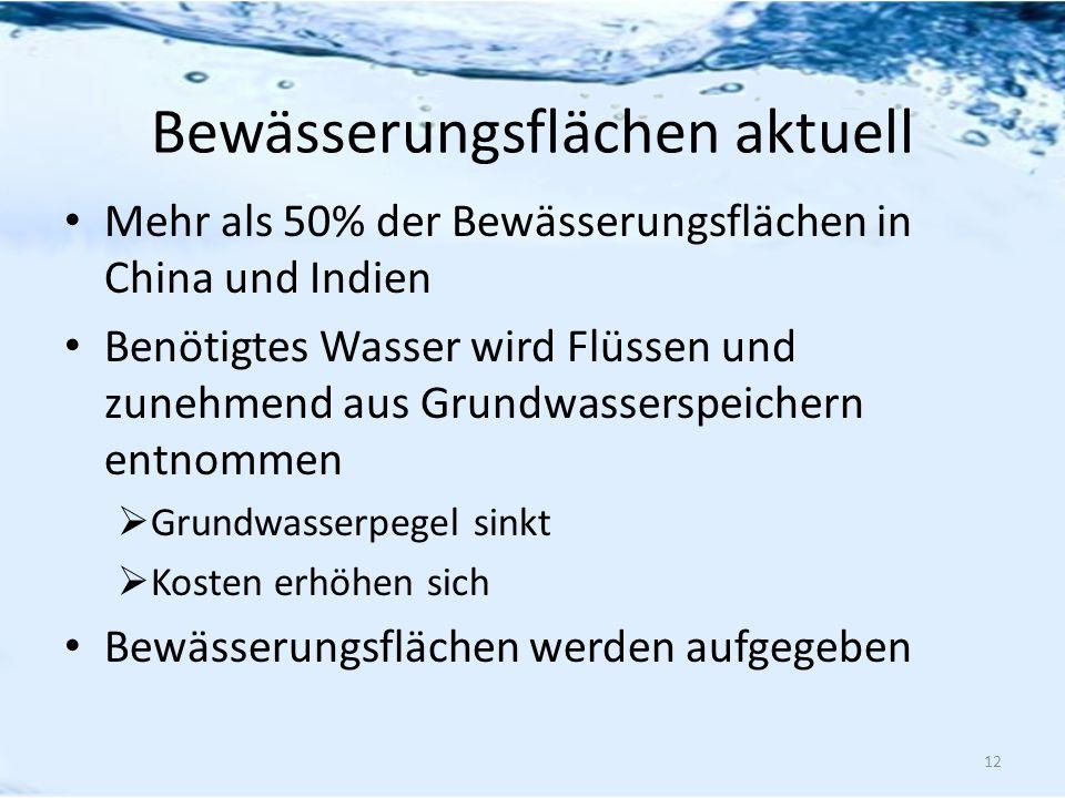 Bewässerungsflächen aktuell Mehr als 50% der Bewässerungsflächen in China und Indien Benötigtes Wasser wird Flüssen und zunehmend aus Grundwasserspeic