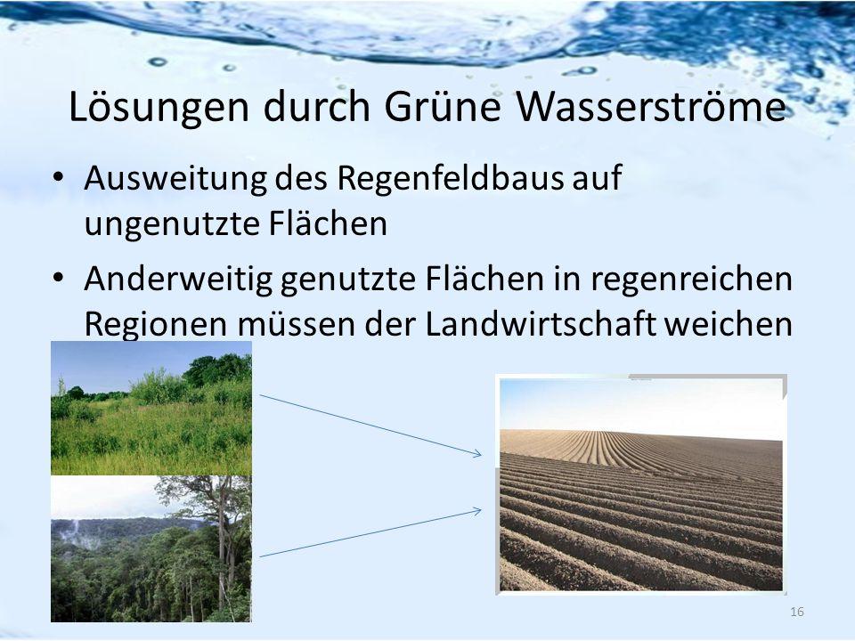 Lösungen durch Grüne Wasserströme Ausweitung des Regenfeldbaus auf ungenutzte Flächen Anderweitig genutzte Flächen in regenreichen Regionen müssen der