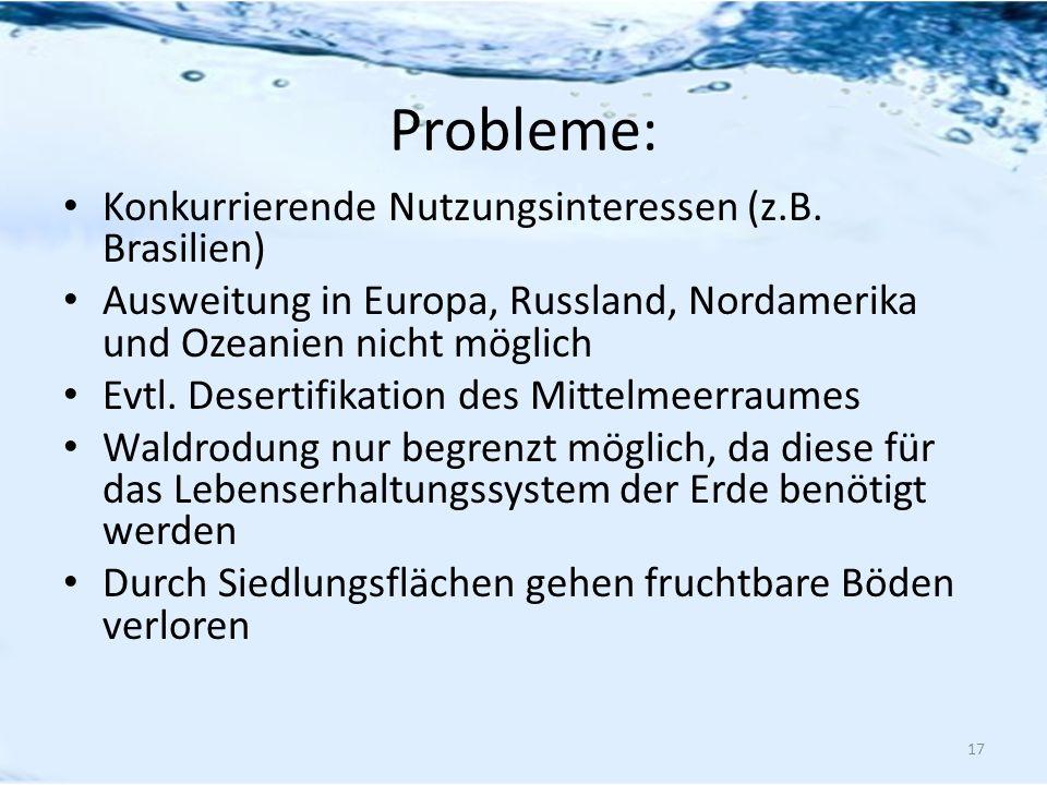 Probleme: Konkurrierende Nutzungsinteressen (z.B. Brasilien) Ausweitung in Europa, Russland, Nordamerika und Ozeanien nicht möglich Evtl. Desertifikat