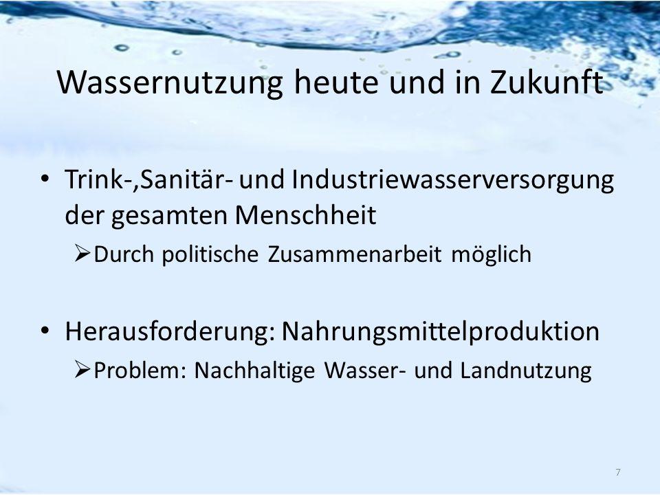 Wassernutzung heute und in Zukunft Trink-,Sanitär- und Industriewasserversorgung der gesamten Menschheit Durch politische Zusammenarbeit möglich Herau
