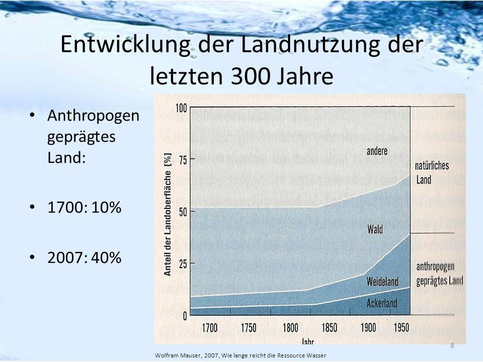 Entwicklung der Landnutzung der letzten 300 Jahre Anthropogen geprägtes Land: 1700: 10% 2007: 40% 8 Wolfram Mauser, 2007, Wie lange reicht die Ressour