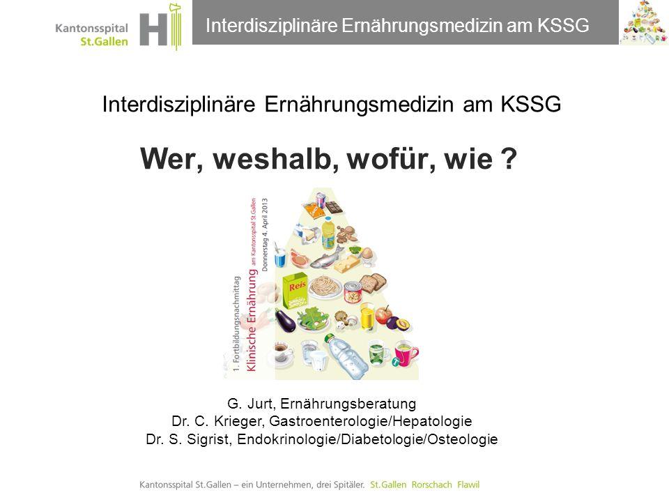 Thema der Präsentation Inhalt WerOrganisation WeshalbMangelernährung im Spital WofürZiele WieAngebote Interdisziplinäre Ernährungsmedizin am KSSG