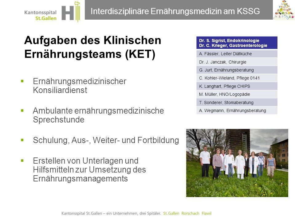 Thema der Präsentation Aufgaben des Klinischen Ernährungsteams (KET) Ernährungskommission 21.09.2011Interdisziplinäre Ernährungsmedizin am KSSG Dr. S.