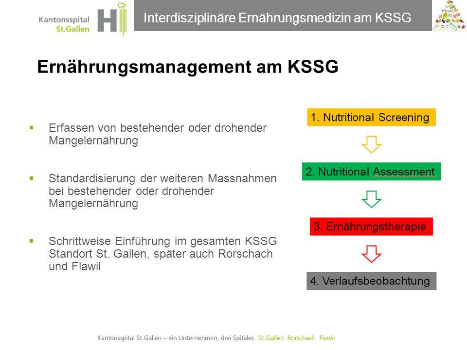 Thema der Präsentation Ernährungsmanagement am KSSG Erfassen von bestehender oder drohender Mangelernährung Standardisierung der weiteren Massnahmen b