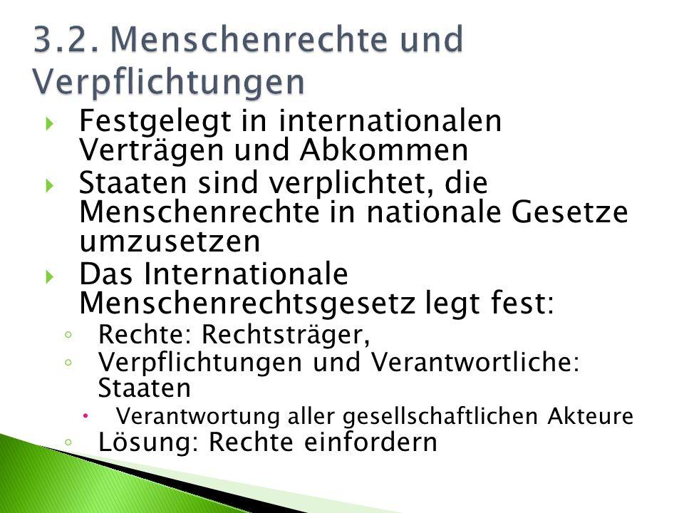 Festgelegt in internationalen Verträgen und Abkommen Staaten sind verplichtet, die Menschenrechte in nationale Gesetze umzusetzen Das Internationale M