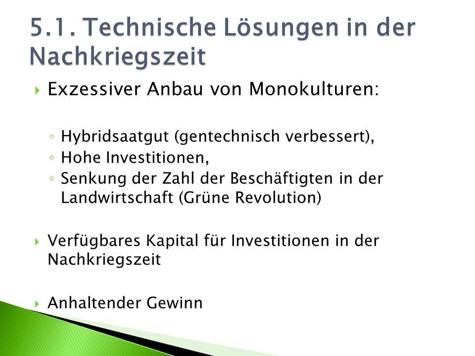 Exzessiver Anbau von Monokulturen: Hybridsaatgut (gentechnisch verbessert), Hohe Investitionen, Senkung der Zahl der Beschäftigten in der Landwirtscha