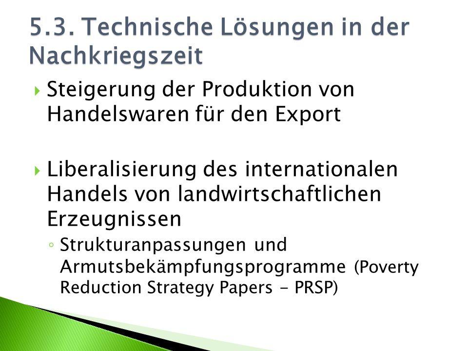 Steigerung der Produktion von Handelswaren für den Export Liberalisierung des internationalen Handels von landwirtschaftlichen Erzeugnissen Strukturan