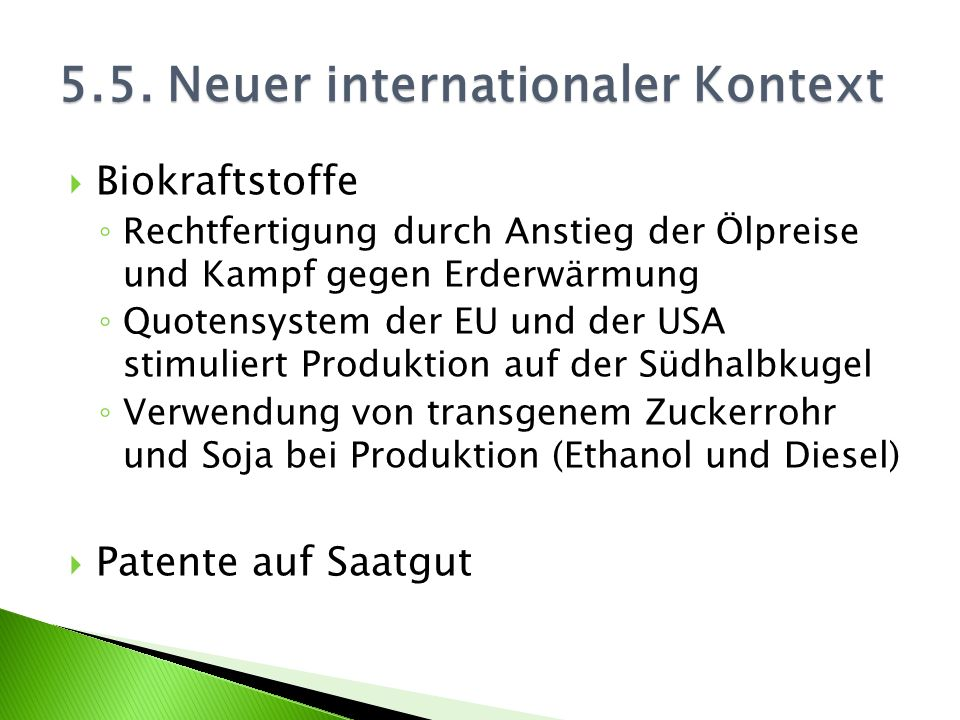 Biokraftstoffe Rechtfertigung durch Anstieg der Ölpreise und Kampf gegen Erderwärmung Quotensystem der EU und der USA stimuliert Produktion auf der Sü