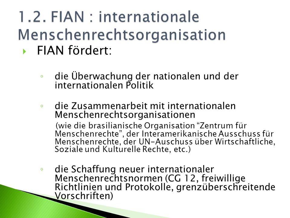 FIAN fördert: die Überwachung der nationalen und der internationalen Politik die Zusammenarbeit mit internationalen Menschenrechtsorganisationen (wie