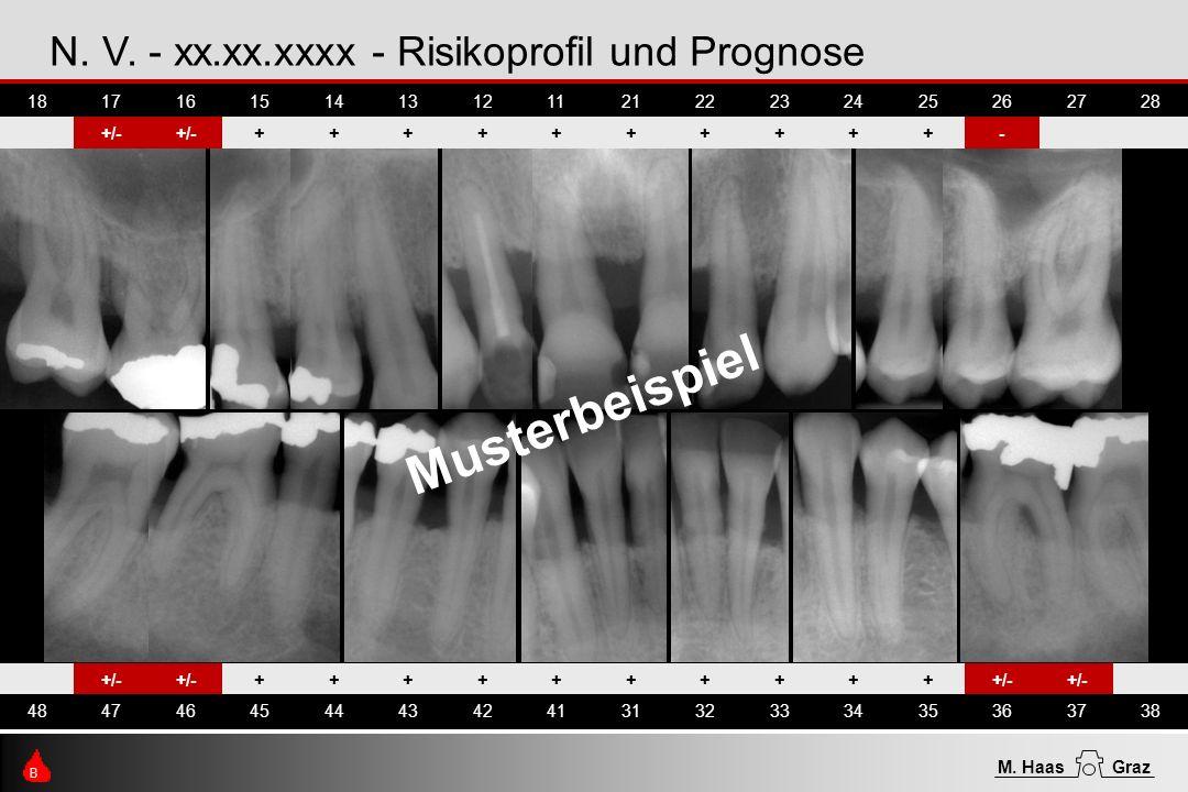 N. V. - xx.xx.xxxx - Risikoprofil und Prognose +/- ++++++++++ 48474645444342413132333435363738 B M. HaasGraz 18171615141312112122232425262728 +/- ++++