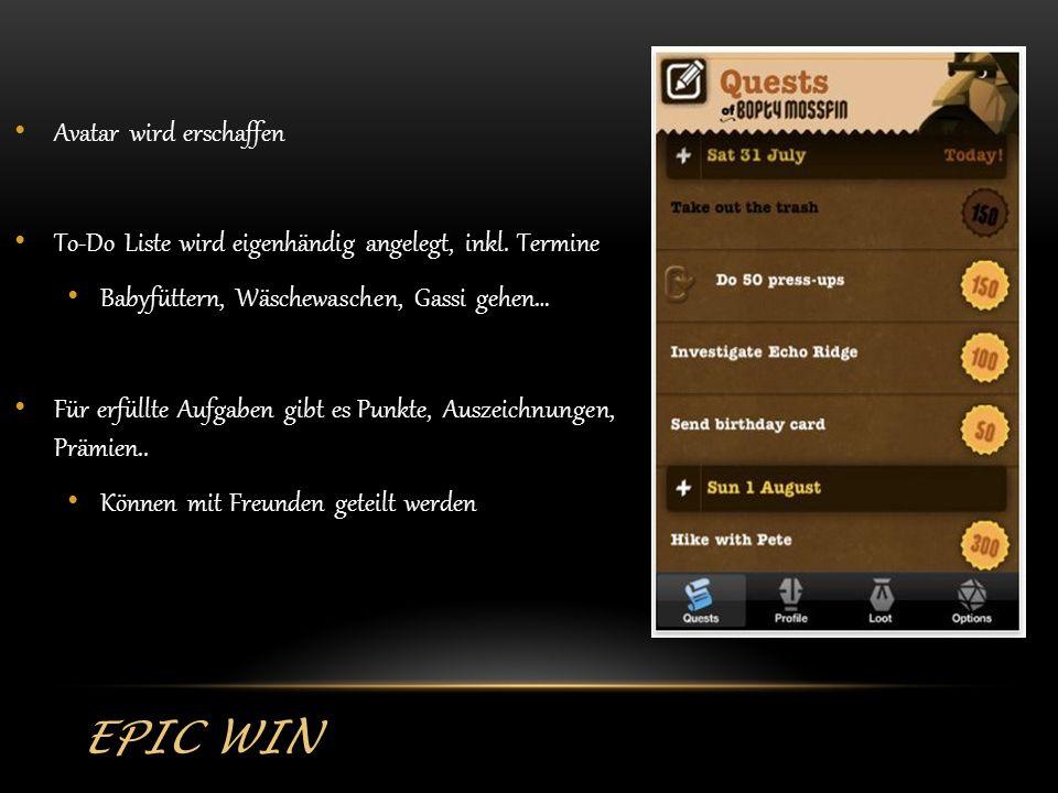 EPIC WIN Avatar wird erschaffen To-Do Liste wird eigenhändig angelegt, inkl.
