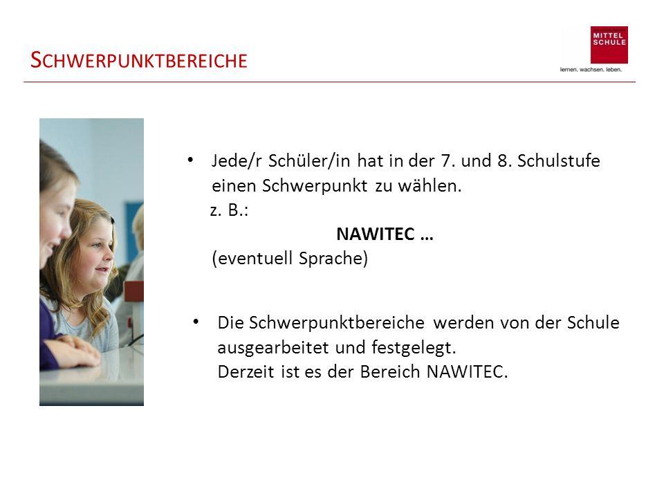 S CHWERPUNKTBEREICHE Jede/r Schüler/in hat in der 7. und 8. Schulstufe einen Schwerpunkt zu wählen. z. B.: NAWITEC … (eventuell Sprache) Die Schwerpun
