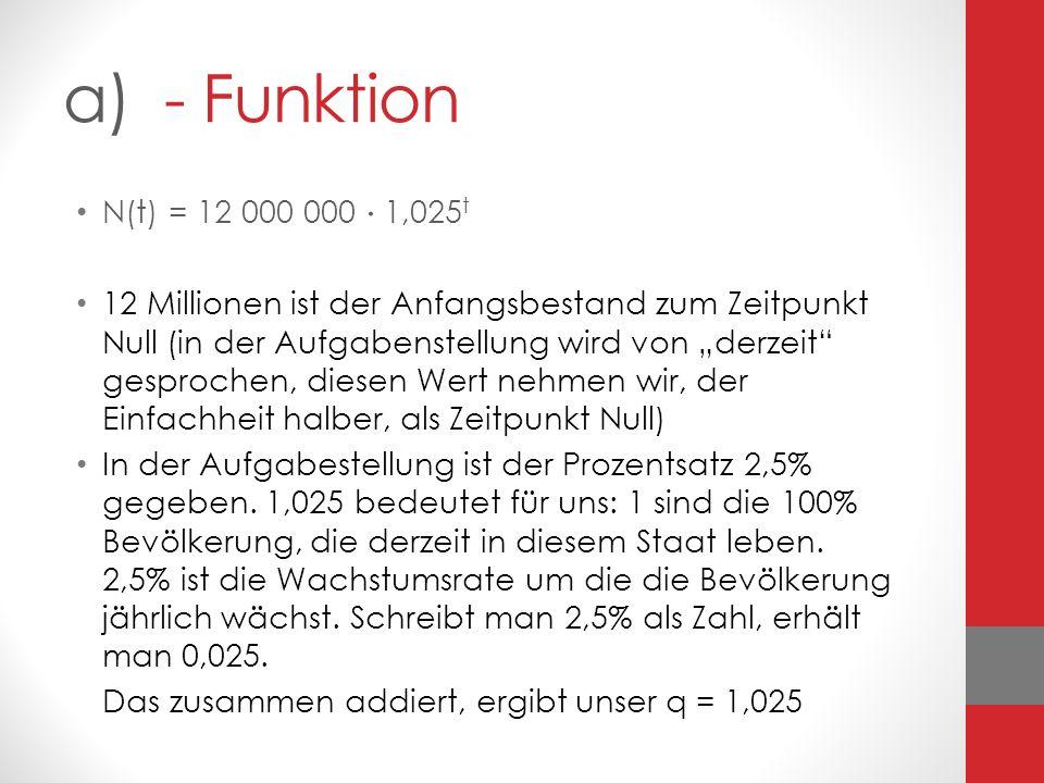 a) - Funktion N(t) = 12 000 000 1,025 t 12 Millionen ist der Anfangsbestand zum Zeitpunkt Null (in der Aufgabenstellung wird von derzeit gesprochen, d