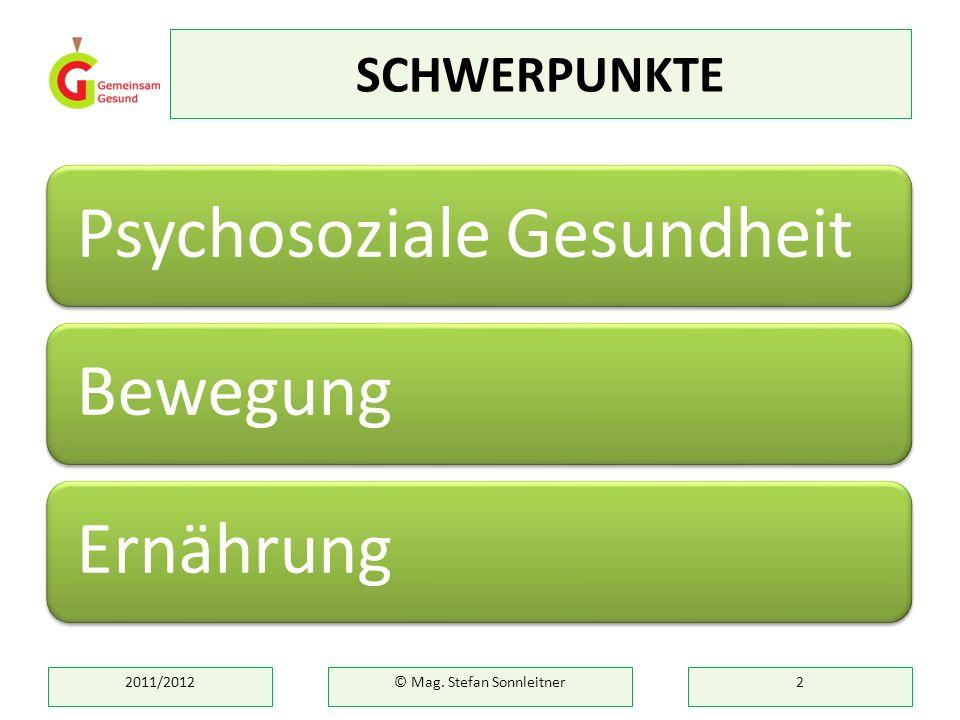 SCHWERPUNKTE Psychosoziale GesundheitBewegungErnährung 2011/2012© Mag. Stefan Sonnleitner2