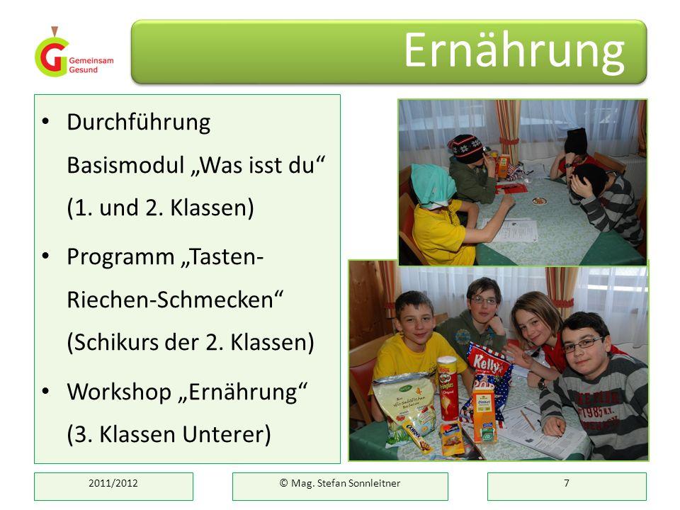 Durchführung Basismodul Was isst du (1. und 2. Klassen) Programm Tasten- Riechen-Schmecken (Schikurs der 2. Klassen) Workshop Ernährung (3. Klassen Un