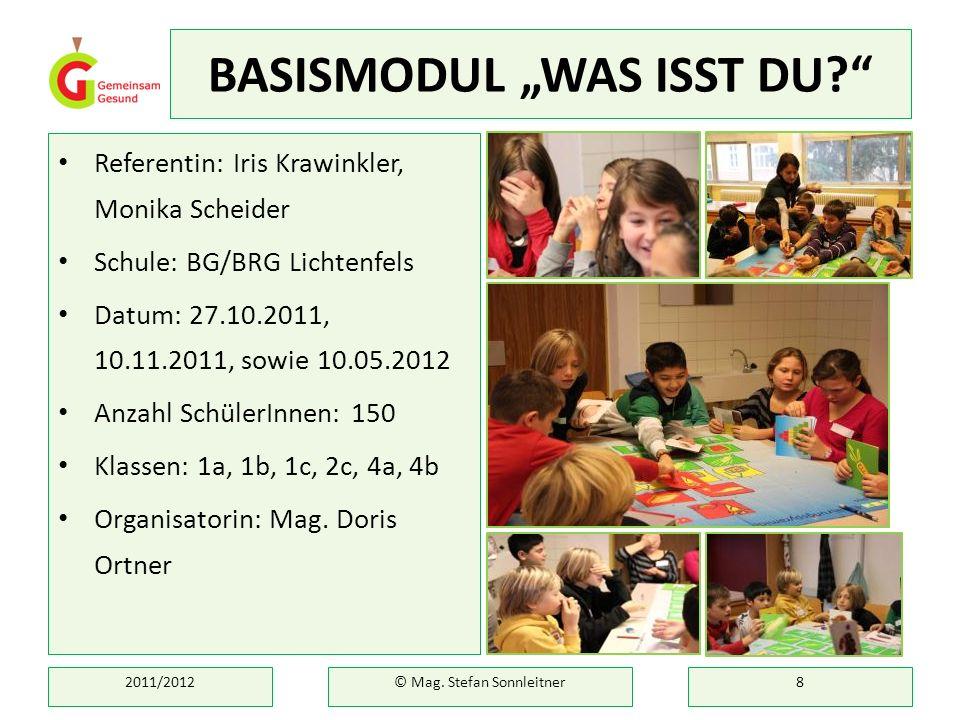 BASISMODUL WAS ISST DU? Referentin: Iris Krawinkler, Monika Scheider Schule: BG/BRG Lichtenfels Datum: 27.10.2011, 10.11.2011, sowie 10.05.2012 Anzahl
